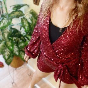 Saints & Hearts burgundy sequin shiny short romper